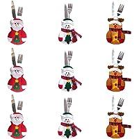 Sungpunet 9Pcs Besteck Steht Weihnachten Schneemann Besteck Bestecktasche Bestecktasche für Weihnachten Parteidekoration Weihnachtsschmuck