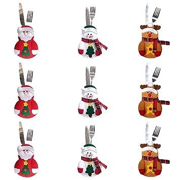 NiceButy cubertería 9Pcs soportar los Cubiertos Cubiertos Cubiertos Bolsa de Bolsa de muñeco de Nieve de Navidad para los Productos para el hogar decoración ...