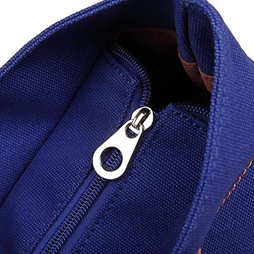 Viaggio tela Moda tracolla Bianco di Donna a Tessuto Borse Blu cerniere VogueZone009 Borse 1qvYIBW