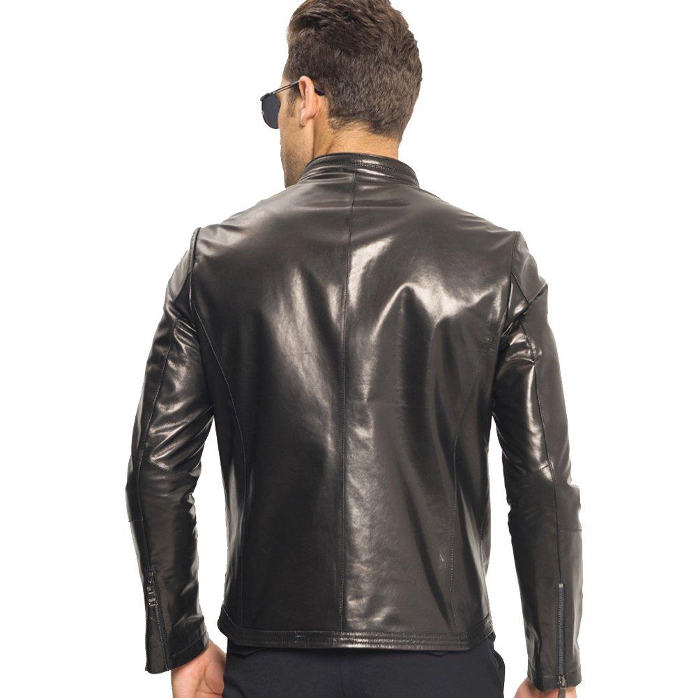 f225dbc0c814 LINAILIN Men Leather Jacket Short Slim Sheepskin Coat Red Black Motorcycle  Outerwear at Amazon Men s Clothing store