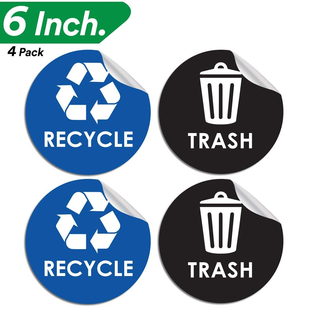 Pixelverse Design Recycle Sticker Trash Can Decal - 6'' Large Recycling Vinyl - 4 Pack (Black & Blue)