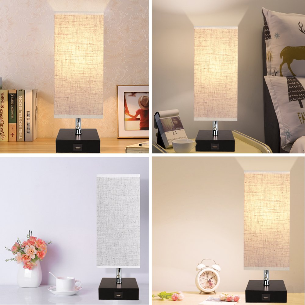 Wooden Claret Base Beside lamp or Office Modern USB Lamp Perfect for Bedroom Lifeholder Table Lamp Living Room Nightstand Lamp with USB Charging Port and Warm White Led Bulb