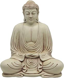 Serene Meditating Buddha Statue in White Finish for Indoor and Outdoor Use (Cream)