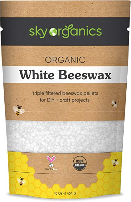Amazon Com Organic White Beeswax Pellets 1lb By Sky Organics 100 Pure Usda Organic Bees Wax Pesticide Free Triple Filtered Easy Melt Beeswax Pastilles For Diy Candles Skin Care Lip Balm Health Personal