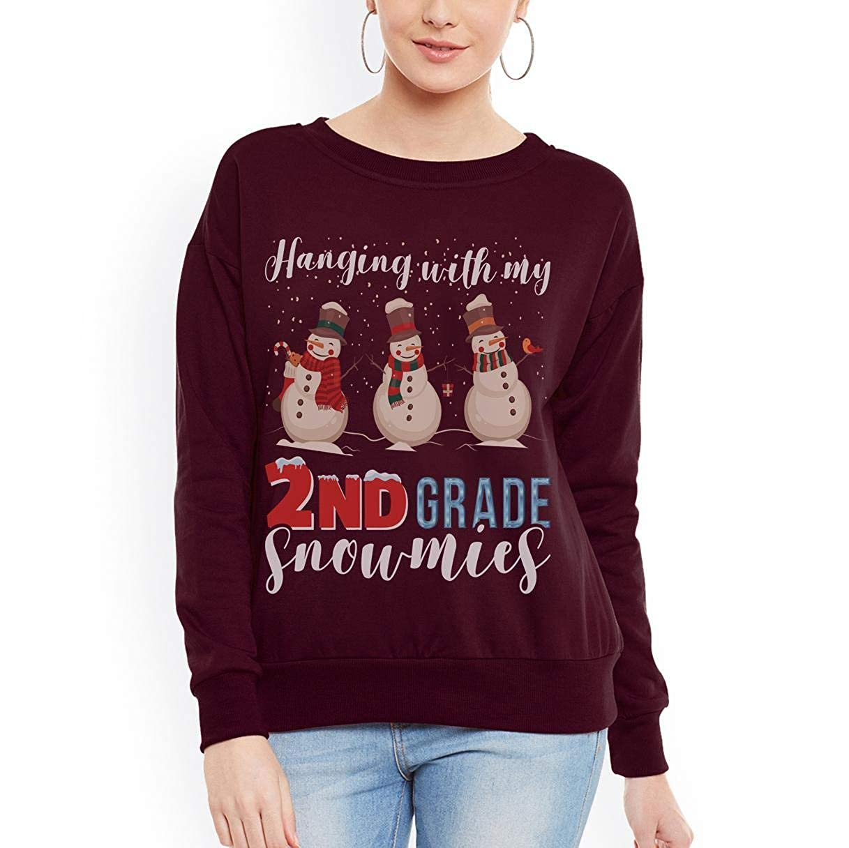 tee Snowman Teacher Hanging with My 2nd Grade Snowmies Women Sweatshirt