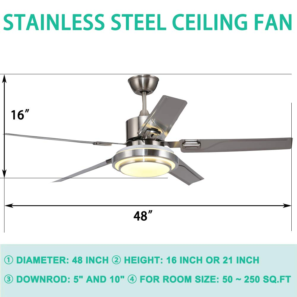 Andersonlight Brushed Steel Indoor Ceiling Fan, Light Kit with White Acrylic Glass and Remote 5-Blade , Dimmable White Warm Yellow Light, Quiet Variable Speed Home Improvement 48 inch