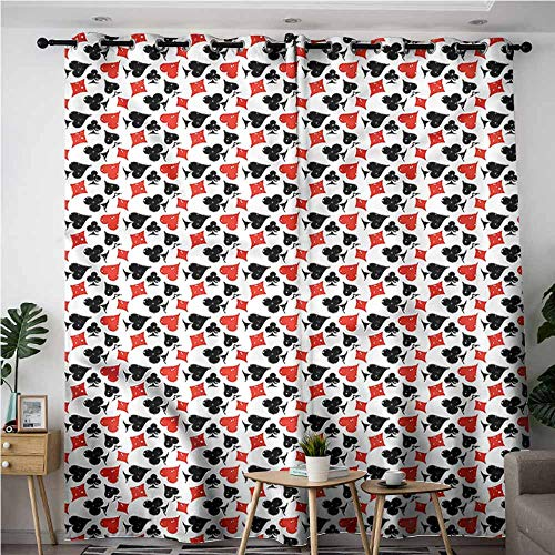 (XXANS Simple Curtains,Poker,Grungy Effect Gambling Theme,Darkening Thermal Insulated Blackout,W84x108L )