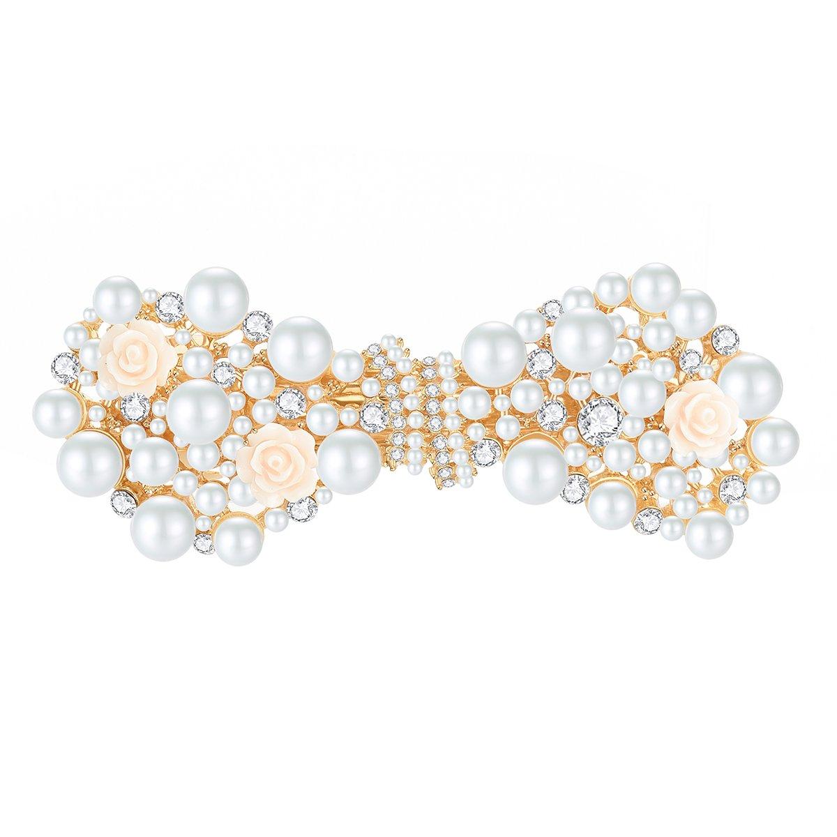 Handmade Bridal Flower Hair Clips with Simulated Pearl Wedding Bridesmaid Accessories 17ZTD5054-5059