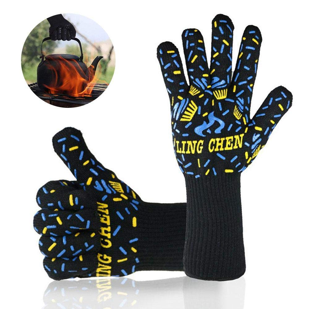 Leegoal BBQ Gloves Heat Resistant, Long Oven Gloves 932°F Extreme Heat-resistant 1 Pair, Hand Protection Five Fingers Gloves for Grilling, Baking, Cooking