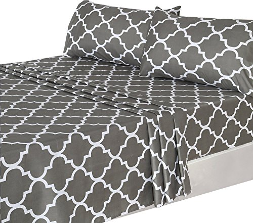 3 Piece Bed Sheets Set (Twin, Grey) 1 Flat Sheet 1 Fitted (1 Twin Flat Sheet)
