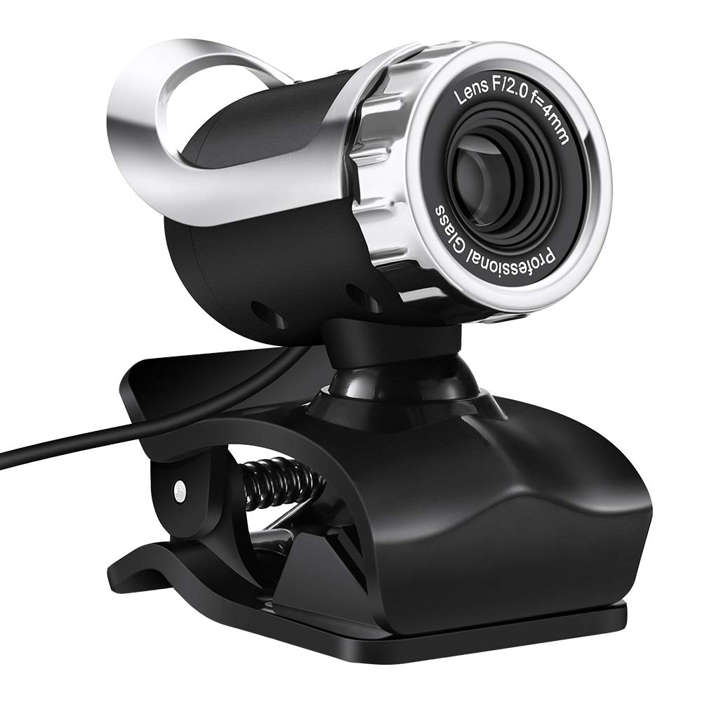 Cimkiz USB Webcam, HD with Built-in MIC PC Camera Plug and Play for Computer Laptop Skype MAC (Black Silver)