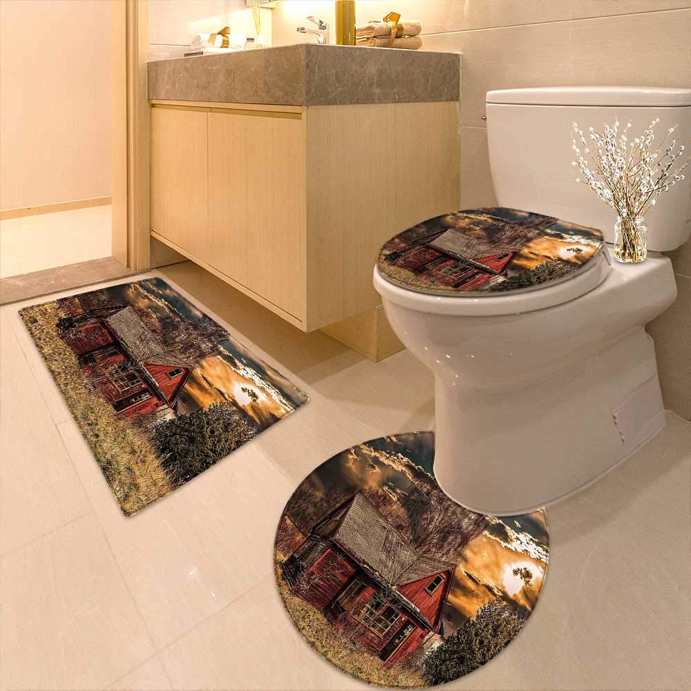 Printsonne U-Shaped Toilet Mat Scary Horror Movie Themed Abandoned House in Pale Grass Garden Sunset Photo Multicolor Washable Non-Slip
