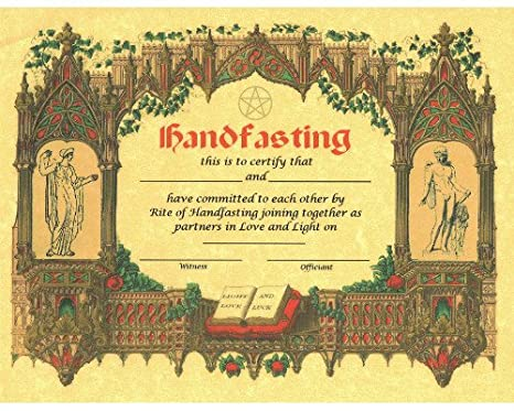 Certificate of Handfasting, Handfasting Certificate for Pagan Wedding (Copper) The Grimoire