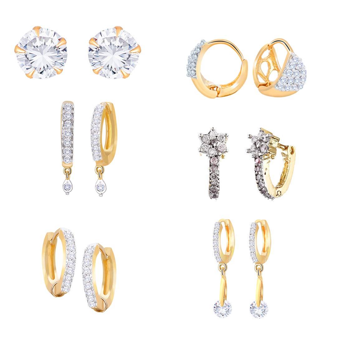 Zeneme Combo of Trendy American Diamond Earrings Jewellery