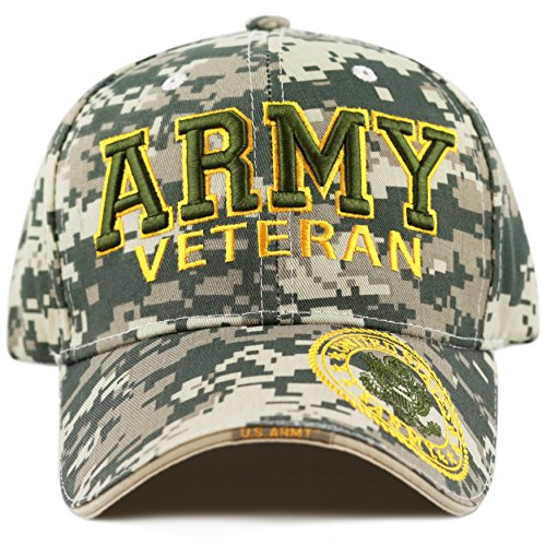 Type Army Digital Camo - THE HAT DEPOT 1100 Official Licensed Military 3D Embroidered Logo Veteran Cap (Army-Digital Camo)
