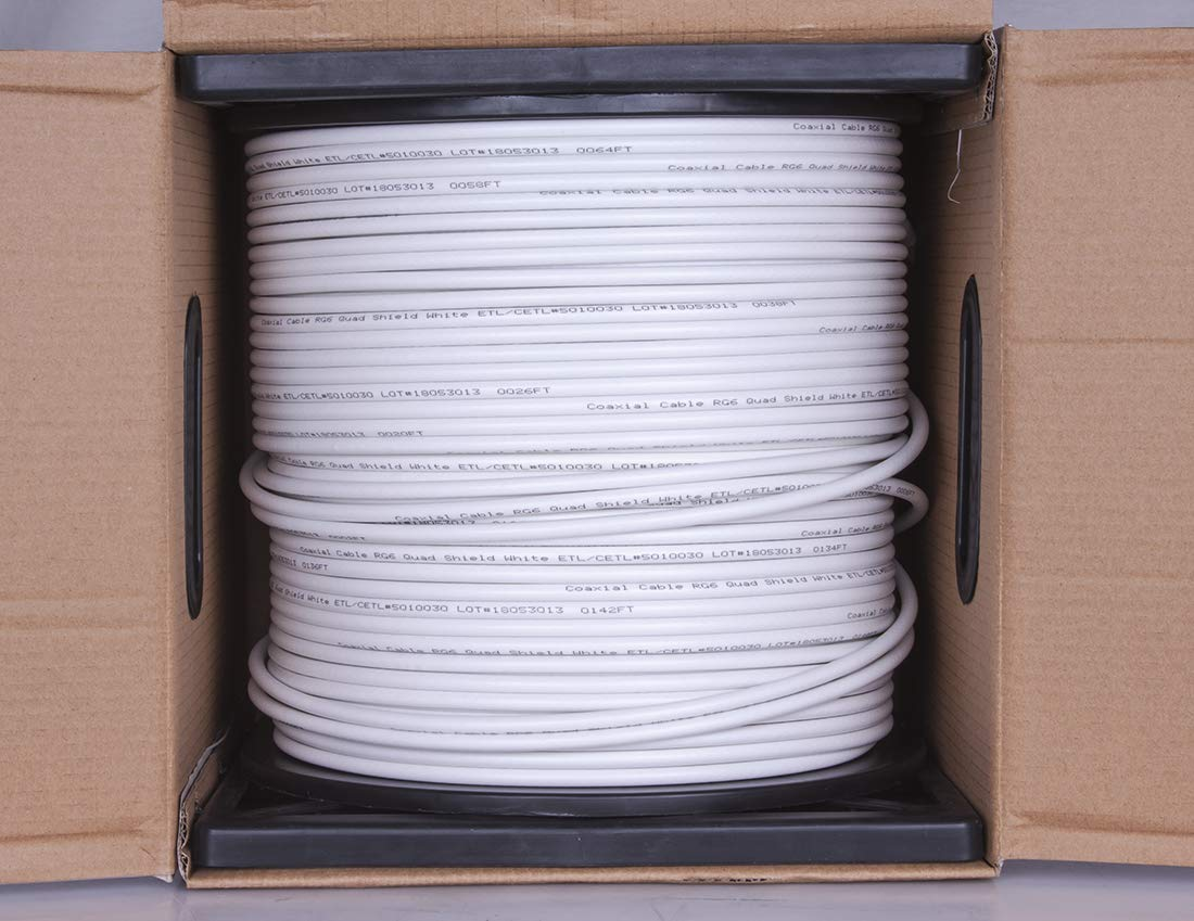 Five Star Cable 1000 ft. RG6 Quad Shielded Coaxial Cable ETL Listed for use with Audio/Video, Radio Frequency, and CATV/MATV Transmissions. White by FIVE STAR (Image #4)