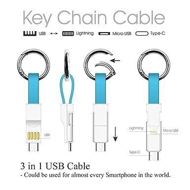 Amazon.com: Cable de carga múltiple Lightning/Tipo C/Micro 3 ...