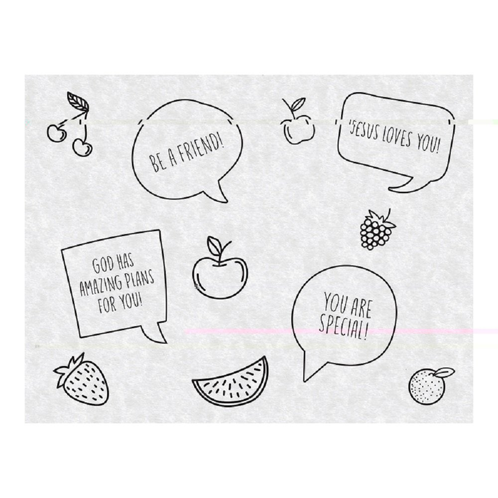 AT001 Just for Kids Inspirational Snack Sheets, Pack of 100. 9'' x 7''.