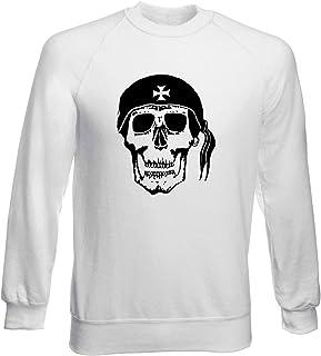 T-Shirtshock Felpa Girocollo Uomo Bianca FUN3146 Pirate Skull