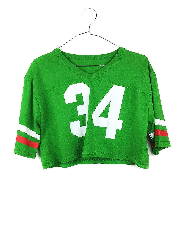 Uissos Camiseta Futbol Americano para Mujer diseño Estampado número 34 Talla Única ... (Talla única, Amarillo): Amazon.es: Ropa y accesorios