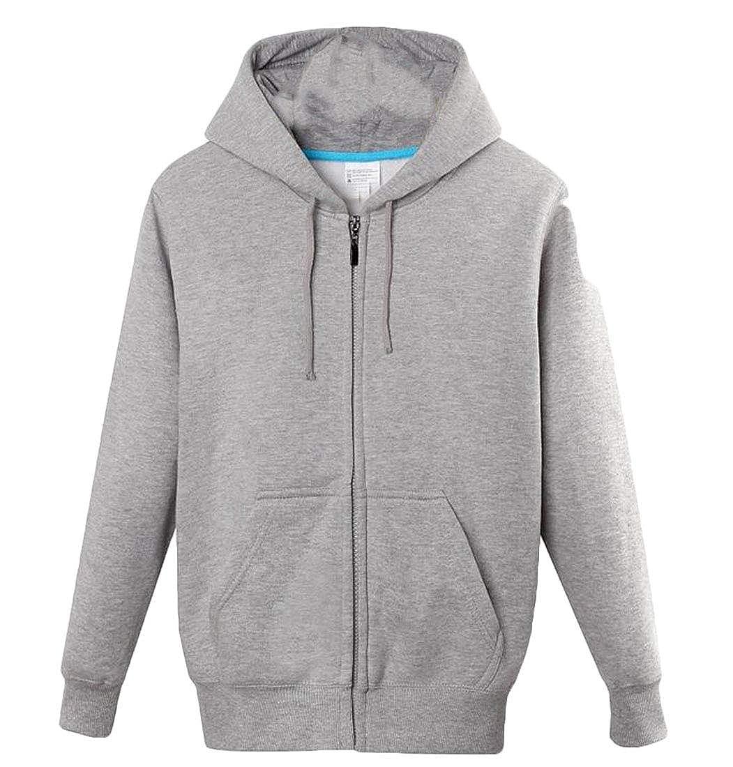 Nanquan Men Slim Fit Drawstring Long Sleeve Zip Up Solid Hoodie Sweatshirt