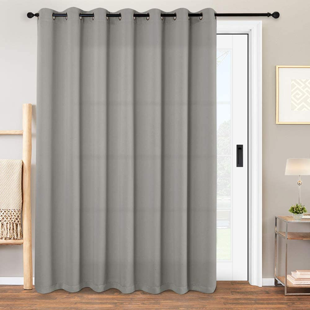 """Vangao Grey Blackout Curtains Room Divider for Bedroom/Living Room/Glasss Door Long Thermal Insulated Grommet Top Triple Weave Drapes,W 100 x L 84 inch(8'4"""" x 7'), Single Panel, Gray"""