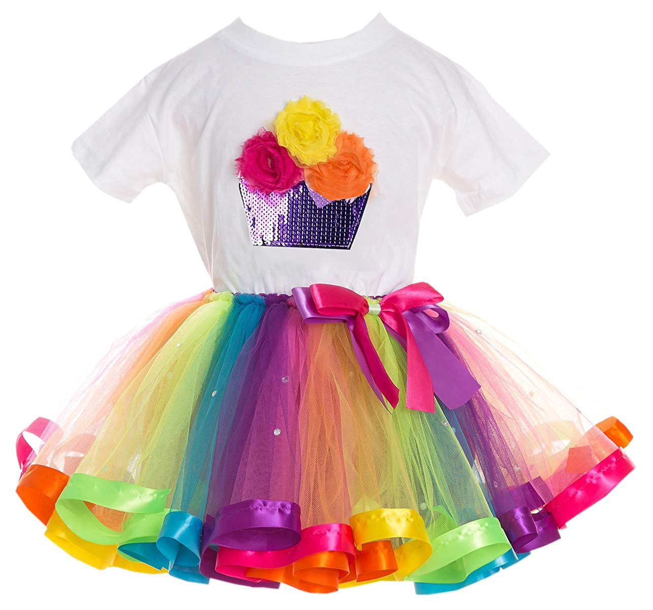 SANGTREE Girls Outfit T Shirt and Tutu Skirt Set