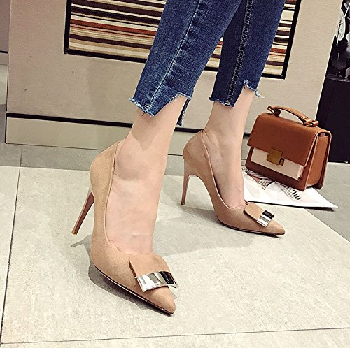 Pointed 10Cm Elegant Ladies Heeled Shoes High Sexy Leisure Match Shoes With Lady Single Fine Work MDRW Princess 37 Nude All Spring Shoes 85YX4qxw