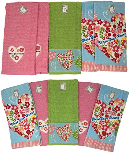 Loretta For Home Bless Your Heart 10 Piece Absorbent Cotton Kitchen Dish Towel Set, 6718, 27x16 ()