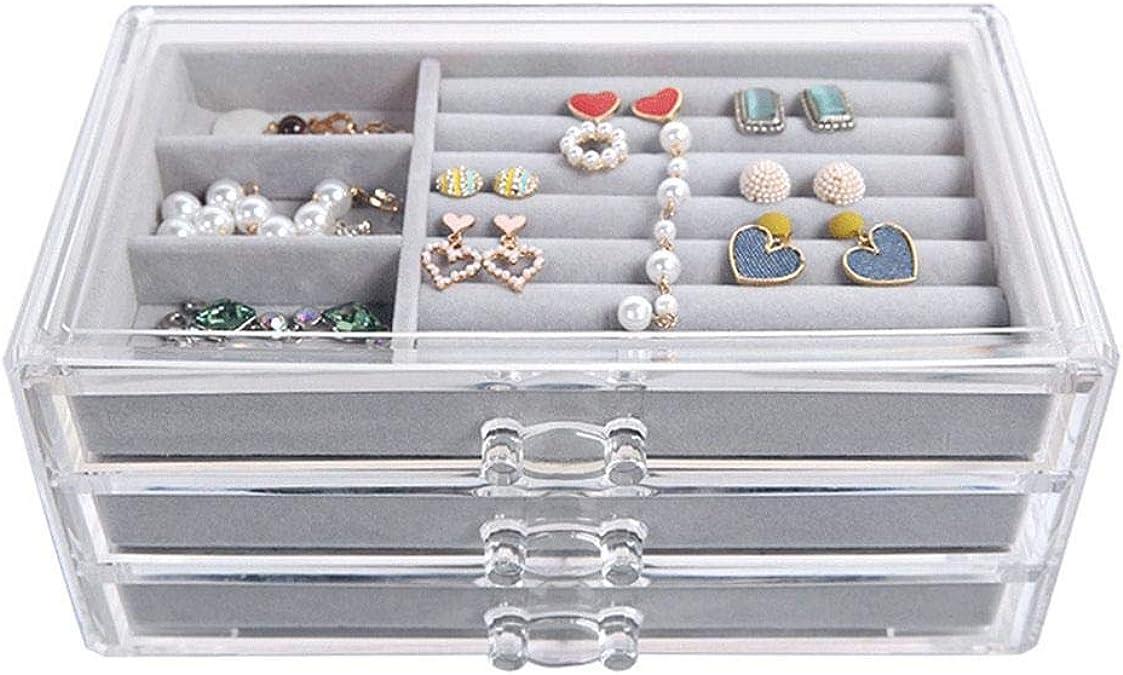 organiseur de bijoux en velours. Bo/îte /à bijoux transparente avec 3 tiroirs