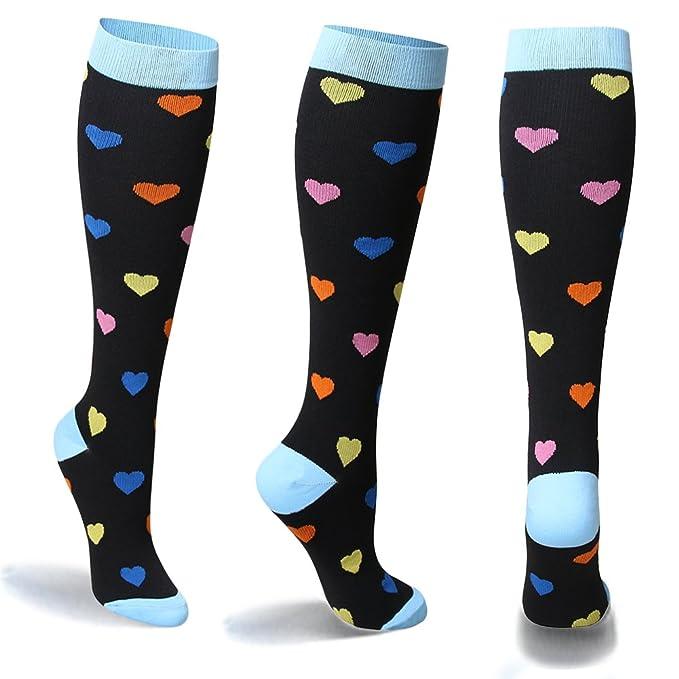 54da0035520 Amazon.com  YOLIX Compression Socks for Women   Men 20-30 mmHg - 3 6 Pairs  - Best Knee High Socks for Running