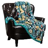"Chanasya Super Soft Ultra Plush Gold Fox Teal Blue Navy Bright Vibrant Color Print Sherpa Bed Couch Sofa Throw Blanket( 50"" x 65"")- Blue Fox Lover"