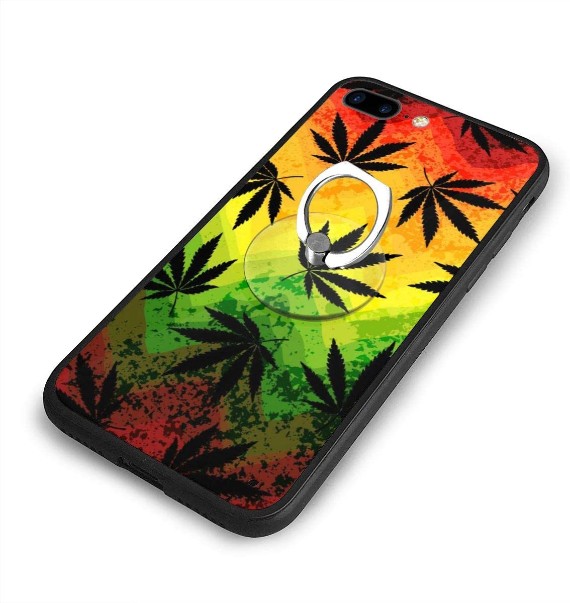 Marijuana Leaf Rasta Colors iPhone 7/8 Plus Case Anti Scratch Shock-Proof Phone Case with Circular/Ring Bracket