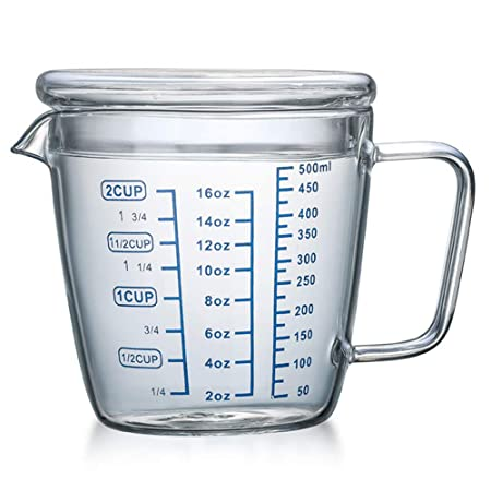 Compra OnePine 500ml Taza de medición de Cristal con Tapa ...