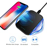 Fast Wireless Charger, Qi Wireless Charging Pad QC2.0/3.0 Enabled Charge Station for iPhone 8/8 Plus/iPhone X, Samsung Galaxy Note 8/S8/S8 Plus/S7/S7 Edge/Note 5 and All QI-Enabled Devices - Black