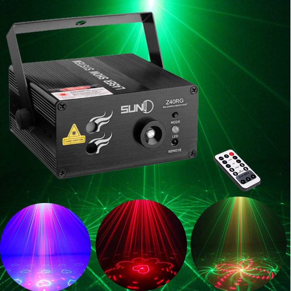 Professional Mini Portable Stage Laser Lights Red Green With Blue 40 Patterns Laser Light Remote Control Auto Sound Activated Laser Stage Projector for Holiday Family Party DJ Disco Xmas Bars Clubs by SUNY