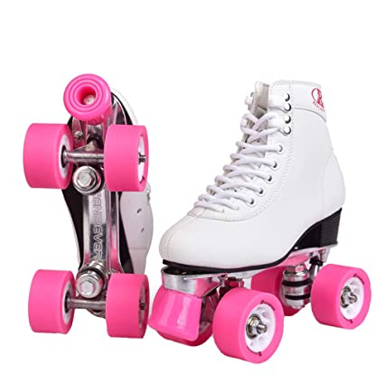 GOLDGOD Double Row Skates Roller Skates Pulley Shoes Black Pink Flash Four Wheel Aluminum Alloy Chassis