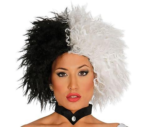 877ae6ff22f5f MEDIA WAVE store ® 444267 Peluca para disfraces en dos tonos blanco y negro  ideal para
