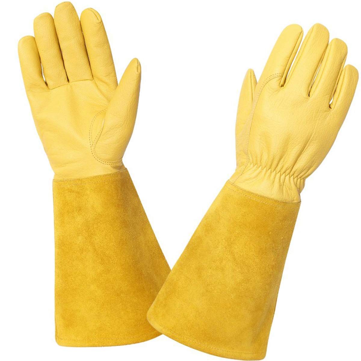 KIM YUAN Rose Pruning Gloves for Men and Women. Thorn Proof Goatskin Leather Gardening Gloves with Long Sheepskin Gauntlet to Protect Your Arms Until The Elbow (YELLOW)