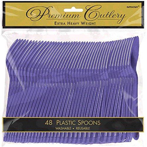 Amscan 8011.106 Premium Heavy Weight Plastic Spoons, 9 x 9.2, New Purple