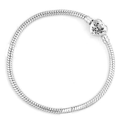 Uniqueen Snake Chain Flower with Cyrstal Heart Clasp Bracelet for European Charms avVKH