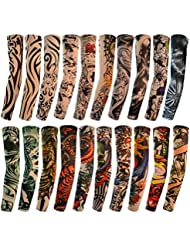 HOVEOX 20pcs Temporary Tattoo Arm Sleeves Arts Fake Slip on Arm Sunscreen Sleeves Body Art Stockings Protector -Designs Tribal, Tiger, Dragon, Skull, and Etc Unisex Stretchable Cosplay Accessories