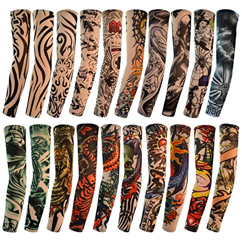 HOVEOX 20pcs Temporary Tattoo Arm Sleeves Arts Fake Slip on Arm Sunscreen Sleeves Body Art Stockings Protector -Designs Tribal, Tiger, Dragon, Skull, and Etc Unisex Stretchable Cosplay Accessories]()