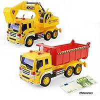 Jouet Camion Benne Pelleteuse Enfant Inertiels 1/16 Jouet Excavator Dumper Truck Friction Drive avec LED et Son alliage Noël Halloween cadeau 2 pcs