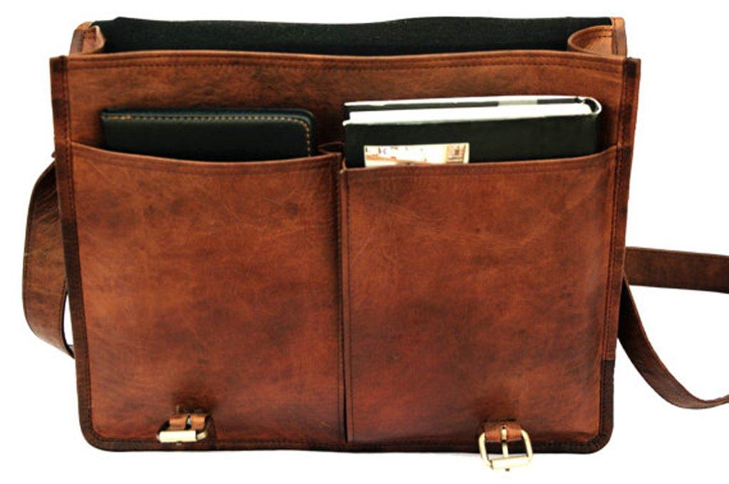 TOL 15 Inch Twin Pocket Genuine Leather Briefcase Travel Bag Messenger bag in vintage style leather Satchel School Women Office College Bag Laptop Document Business Carry Bag Handbag