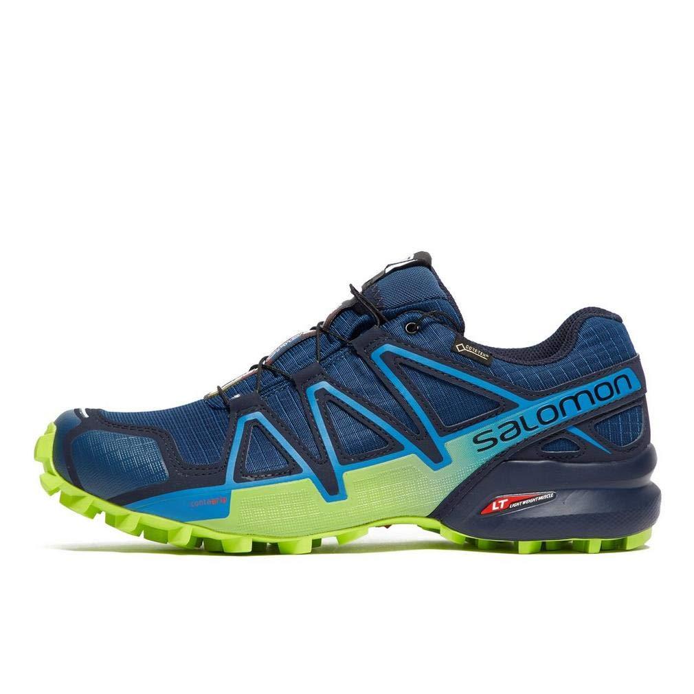 Salomon L40492300 - Zapatillas para Correr en montaña de Piel sintética para Hombre Azul Poseidon Navy Blazer Lime Green, Color, Talla 44