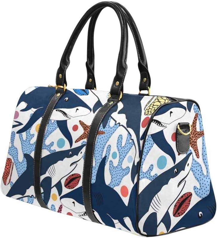 InterestPrint Sharks Shells Starfishes and Corals Unisex Duffel Bag Carry-on Bag Overnight Bag Weekender Bag