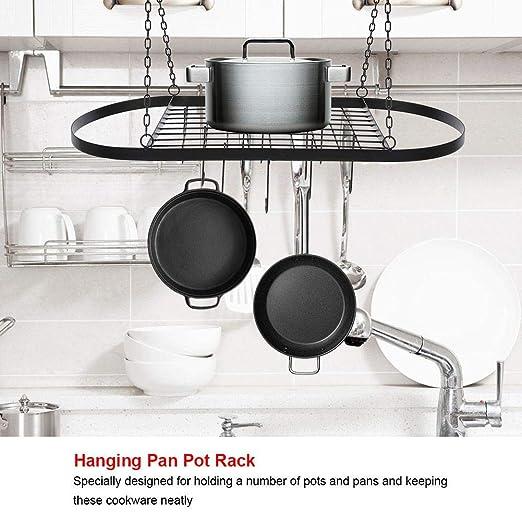 Metal Soporte Colgante de Pan Olla con 10 Ganchos Colgador de Almacenamiento de Sartenes Utensilios de Cocina: Amazon.es: Hogar