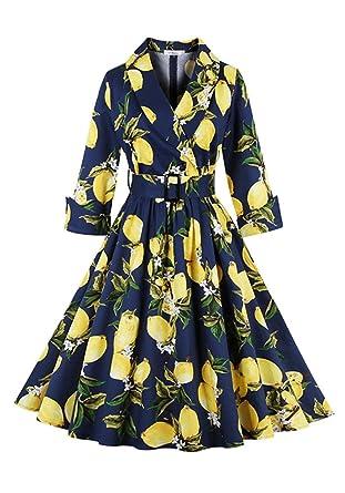 botomiレディースレモンパターンベルト付きヴィンテージクラシックカジュアルレトロスイングドレス US サイズ L