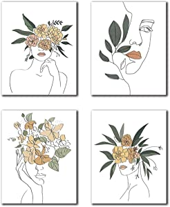 """Modern Minimalist Fashion Pop Women Flower Wall Art Painting Pretty Girl Queen of Woman Apartment Dormitory Bedroom Art Prints Set of 4 (8""""X10"""" Canvas Picture) Bathroom Spa Home Decor Frameless"""